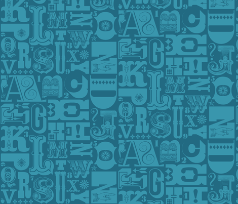 Woodtype Alphabet - Mono Blue fabric by pennycandy on Spoonflower - custom fabric