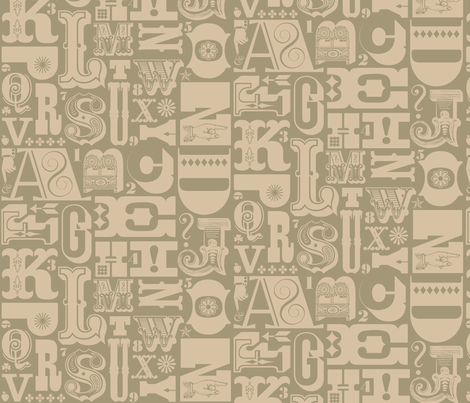 Woodtype Alphabet - Mono Grey fabric by pennycandy on Spoonflower - custom fabric