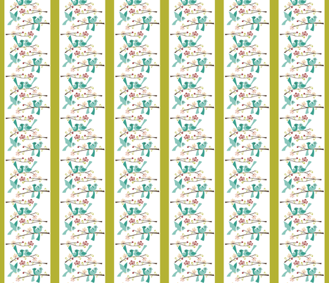 Spring Blossoms - Green stripe fabric by ttoz on Spoonflower - custom fabric