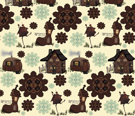 Storybook Houses fabric by kaerushisho on Spoonflower - custom fabric