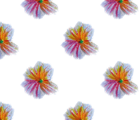 Pastel_drawing_little_flowers_on_white fabric by gallimaufry on Spoonflower - custom fabric
