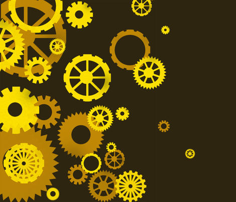 Golden Gears fabric by mindela on Spoonflower - custom fabric