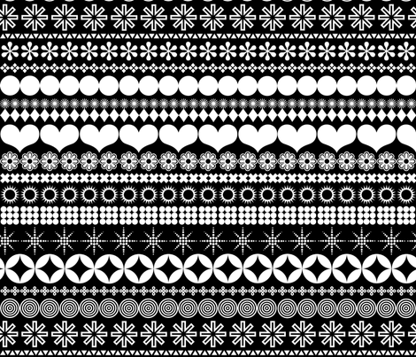 Ornamental Stripes - Black & White fabric by pennycandy on Spoonflower - custom fabric