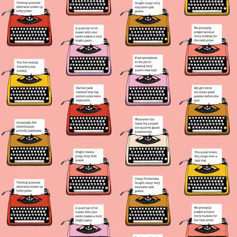 Pangram Typewriters* (Peach Halves) || vintage retro typewriters text typography poetry geek office fabric by pennycandy on Spoonflower - custom fabric