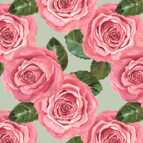 Joan's Dusty Roses fabric by twobloom on Spoonflower - custom fabric
