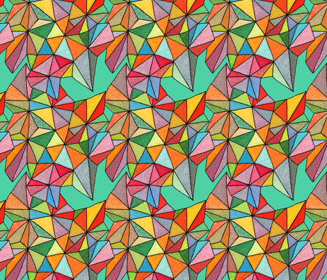 triangles on teal fabric by aprilmariemai on Spoonflower - custom fabric