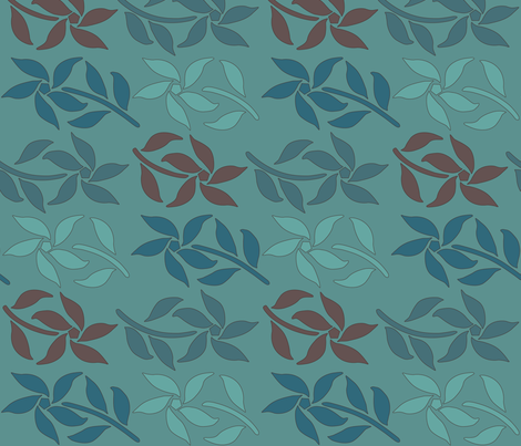 4_Flowers_green-brown-MINAGREEN fabric by mina on Spoonflower - custom fabric