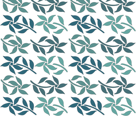 4_Flowers_bluegreens_WHITE fabric by mina on Spoonflower - custom fabric