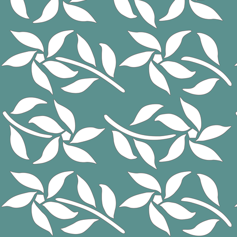 4_Flowers_white_MINAGREEN fabric by mina on Spoonflower - custom fabric