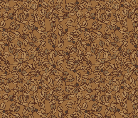 © 2011 leaves and berries coffee fabric by glimmericks on Spoonflower - custom fabric