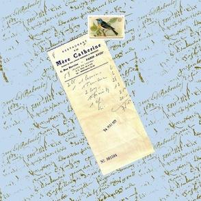 Tippy's French Script bluebird