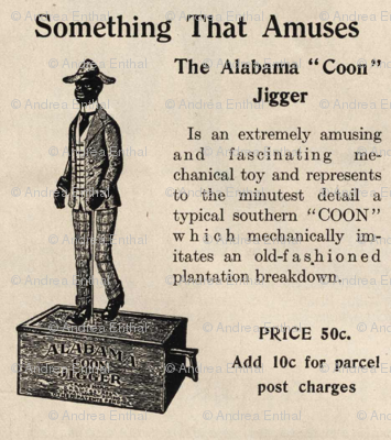 Ad for 1915 dancing man toy (warning: ad is racist)