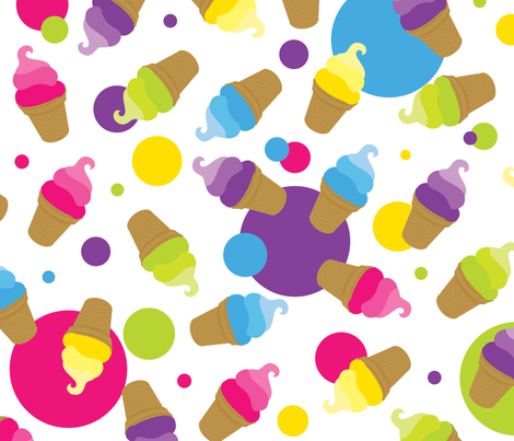 Ice Cream Dots fabric by linensandpurple on Spoonflower - custom fabric