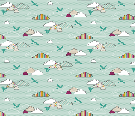 If By Air - In Flight, Bright fabric by ttoz on Spoonflower - custom fabric