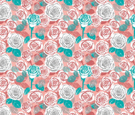 Cassie's Coral Roses fabric by twobloom on Spoonflower - custom fabric