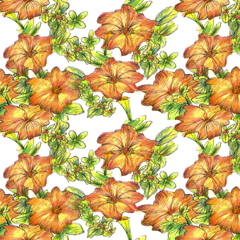 Orange Petunias fabric by countrygarden on Spoonflower - custom fabric