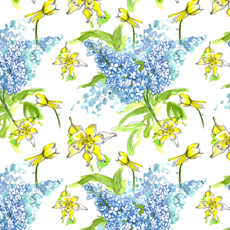 Blue Lilacs and Columbines  fabric by countrygarden on Spoonflower - custom fabric