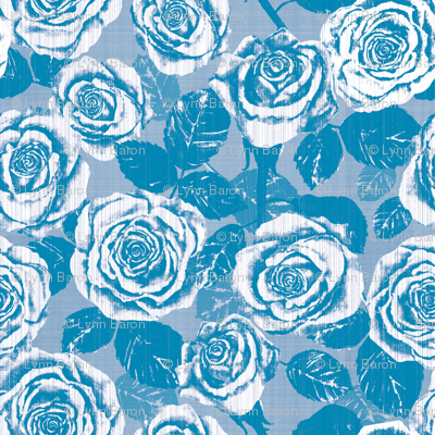 Weathered Country Roses (Blue)