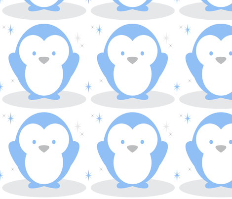 Baby Boy Blue Antarctic Penguin - Large fabric by doodletrain on Spoonflower - custom fabric