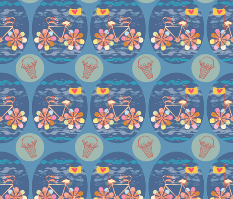 CREAM-CYCLE! fabric by gsonge on Spoonflower - custom fabric