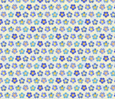 Blue Patterned Flowers fabric by siya on Spoonflower - custom fabric