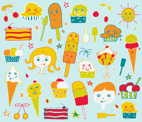 Ice Cream fabric by geraldine_adams on Spoonflower - custom fabric
