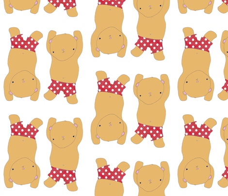 Dancing Bears In Red Polka Dot pants fabric by blossomnbird on Spoonflower - custom fabric