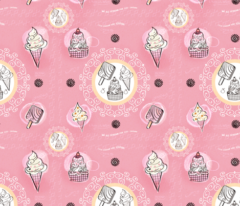 The classic ice cream design fabric by koala_prints on Spoonflower - custom fabric