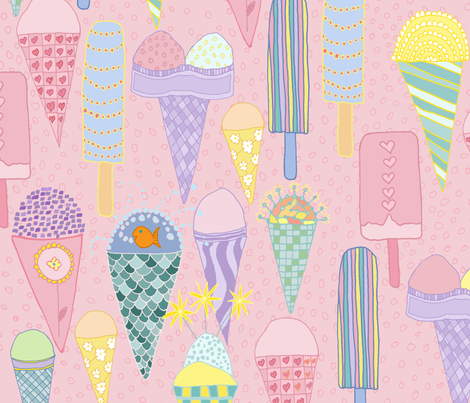ice cream party fabric by jeannemcgee on Spoonflower - custom fabric