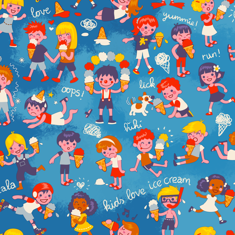 Ice cream kids! | blue fabric by irrimiri on Spoonflower - custom fabric