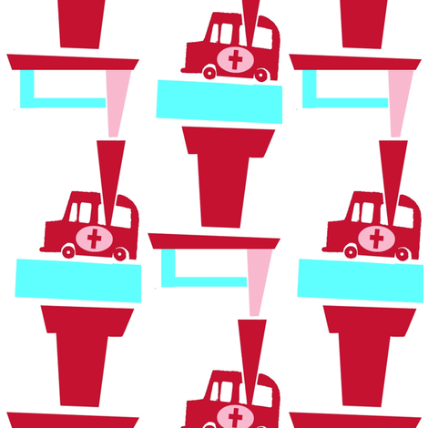 Girly Ambulances fabric by boris_thumbkin on Spoonflower - custom fabric