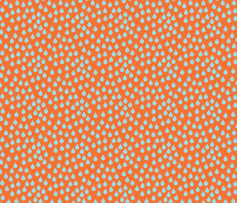 rain on orange fabric by beary_organics on Spoonflower - custom fabric