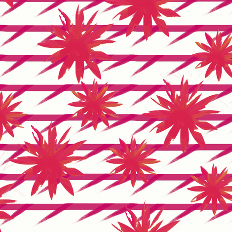 Mustard and pink flowers on barbed pink stripes