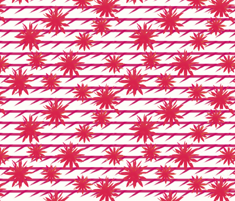 Mustard and pink flowers on barbed pink stripes fabric by su_g on Spoonflower - custom fabric