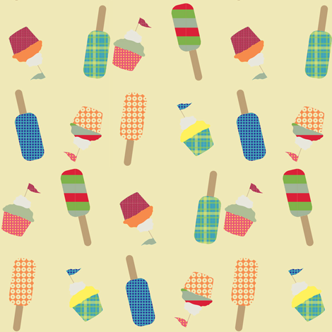 cupcake cutie - cream fabric by krihem on Spoonflower - custom fabric