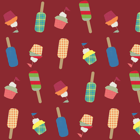 cupcake cutie red fabric by krihem on Spoonflower - custom fabric