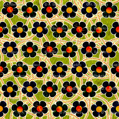 Black Patterned Flowers