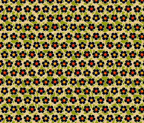 Black Patterned Flowers fabric by siya on Spoonflower - custom fabric