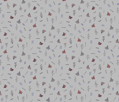 climbing trees - grey fabric by tinyhappy on Spoonflower - custom fabric