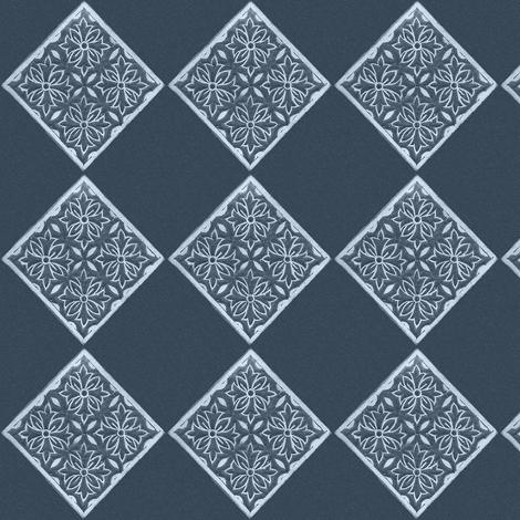 Japanese Fabric Stamp Diamond_indigo fabric by mina on Spoonflower - custom fabric