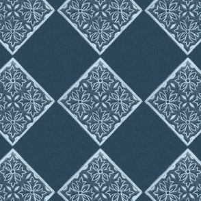 Japanese Fabric Stamp Diamond_indigo