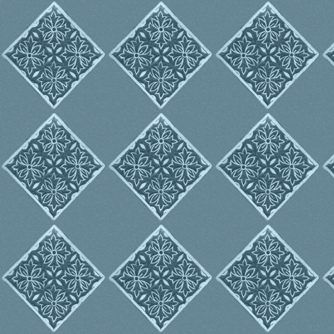 Japanese-fabric-stamp-diamond--INDIGO-TURQUOISE fabric by mina on Spoonflower - custom fabric