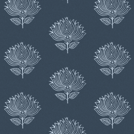 Japanese-flower-stamp-INDIGO fabric by mina on Spoonflower - custom fabric