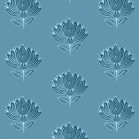 Japanese (Indian) Flower Stamp fabric marine-blue - adj-2012