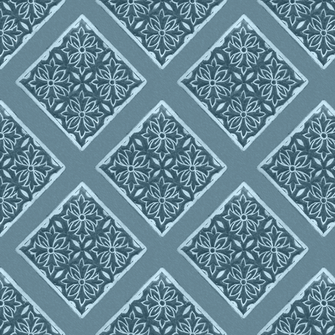 Japanese-fabric-stamp-diamond-diagonal-repeat-TURQUOISE fabric by mina on Spoonflower - custom fabric