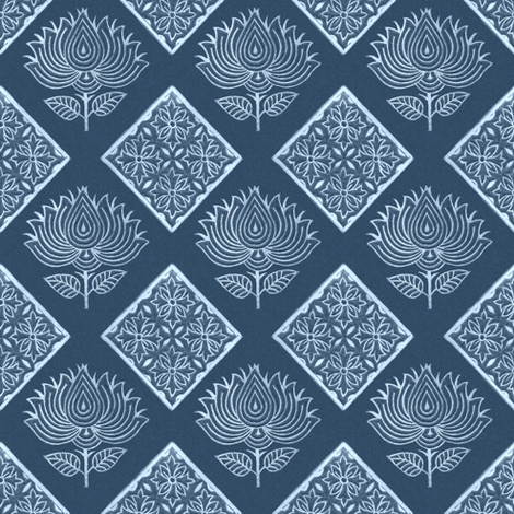 Japanese-fabric-stamps-flower-diamond-INDIGO - adj 2012 fabric by mina on Spoonflower - custom fabric