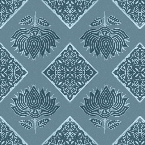 Japanese-fabric-stamp-flower-diamond--TURQUOISE fabric by mina on Spoonflower - custom fabric