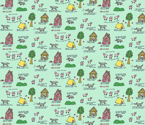 3 little pigs, zoom for details fabric by 7monsters_t_inc on Spoonflower - custom fabric