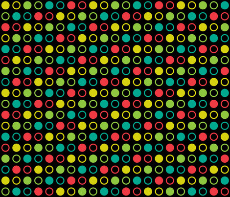 Pop Bot Dot Black fabric by modgeek on Spoonflower - custom fabric