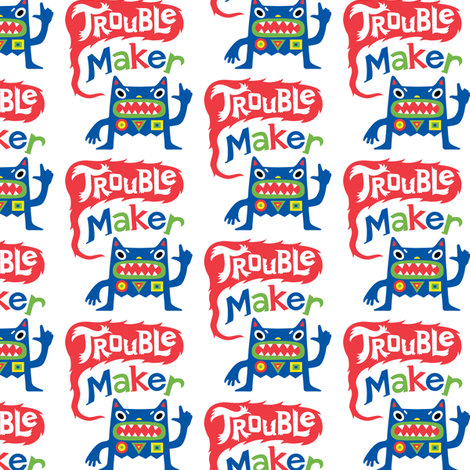 Trouble Maker - Large fabric by andibird on Spoonflower - custom fabric